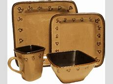 Rustic Ranch Brands Square Western Dinnerware 16 Pc