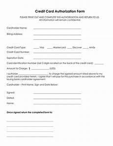 Credit Card Payment Form Template Authorization For Credit Card Use Free Forms Download