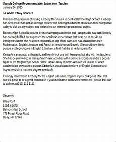 College Letter Of Recommendation From Teacher 8 Recommendation Letters For College Samples Examples