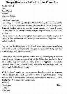 Coworker Letter Of Recommendation Letter Of Recommendation For Co Worker 18 Sample Letters