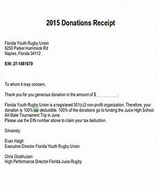 Donation Receipt Letter For Tax Purposes Free 7 Tax Receipts For Donation In Ms Word Pdf