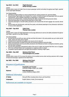 Cv Template For Cabin Crew Cabin Crew Cv Example Guide Land Top Airline Jobs