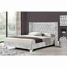 silver king size elizabeth wingback bed frame crushed