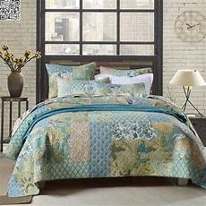 new cotton king size patchwork quilted bedspread