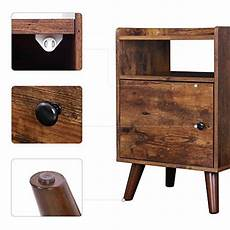 Hoobro End Table Rustic Side Table With 3 Tier Shelf by Hoobro End Table 3 Tier Nightstand With Door Side Table