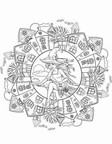 halloween mandala coloring pages halloween mandala with a witch in the village coloring