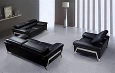 encore modern black leather sofa set
