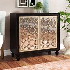 house of hton savanah 2 door mirrored accent cabinet
