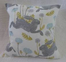 18 inch cushion cover hare flower print duck egg blue grey