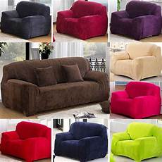 9 solid color thickened plush stretch sofa