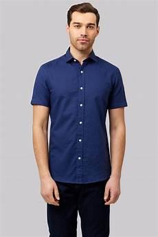 moss 1851 slim fit navy linen sleeve casual shirt
