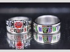 Harley and Joker Nickname Rings Black Diamond by