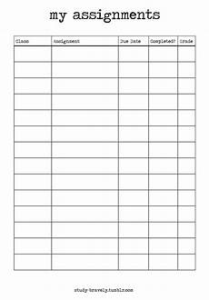 Homework Assignments Template Study Bravely Assignment Tracker Printable Download Link