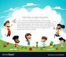 Children Playing Background Children Playing Outdoors On Summer Background Vector Image