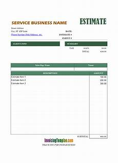 Estimate Format In Excel Free Excel Proposal Template