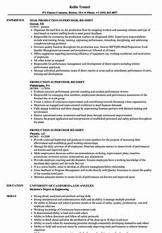 Production Supervisor Resume Samples Production Supervisor 3rd Shift Resume Samples Velvet Jobs