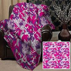 large warm sofa fleece throw pink purple camouflage