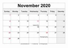 November Template Free November 2020 Calendar Printable Pdf Word