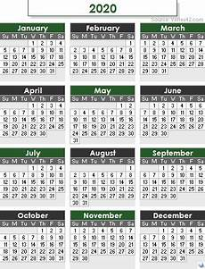 One Year Calendar 2020 2020 Calendar Templates And Images