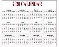 Year Calendar 2020 Printable Editable Calendar 2020 True Tool For Time Management