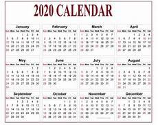 2020 Printable Year Calendar Editable Calendar 2020 True Tool For Time Management