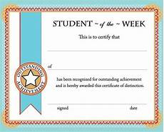 Student Certificates Free Free Printable Student Of The Week Certificate Back To