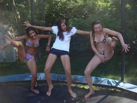 Topless Women On Trampoline