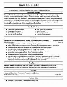 Accountant Resume Summary Professional Construction Accountant Templates To Showcase