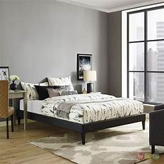 modern king vinyl platform bed frame with square