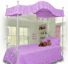 size purple lavender ruffled canopy bed cover top