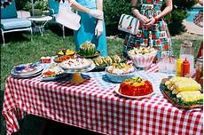 Summertime Party Menus 1950 S Vintage Outdoor Table With Buffet Food Gingham