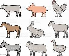 Farm Animal Outlines Painted Outline Figures Of Farm Animals Stock Illustration