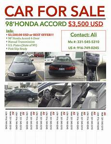 For Sale Flyers Car For Sale Honda Accord Uag Medical School Classifieds