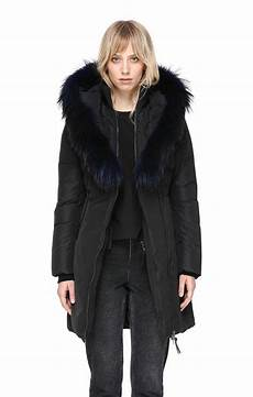 mackage coats for blue fur lyst mackage mid length winter coat with fur collar