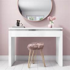 modern white high gloss dressing table console diamante