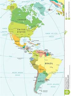 World Map Of North And South America North And South America Map Illustration Stock