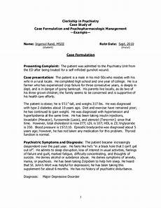 Psychology Case Study Template Case Study Example Clerkship In Psychiatry