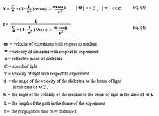 Fizeau Speed Of Light Equation The Premise For Comparing Ether Theory To Relativity