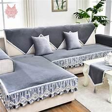 Velvet Sofa Cover 3d Image by Modern Grey Blue Fleece Velvet Sofa Cover Furniture