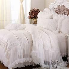 luxury white lace falbala ruffle cake bedding set