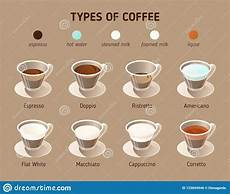 Different Types Of Coffee Types Of Coffee Vector Isometric Icons Infographics