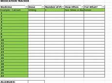 Excel Pills Medication Record Template Medication Tracker