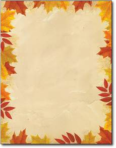 Free Fall Borders For Word Autumn Leaves Border Letterhead Paper 80 Sheets