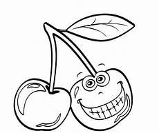 Ausmalbilder Lustiges Obst Ausmalbild Obst Und Gem 252 Se Kirsche Mit Lustigem Gesicht