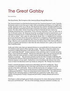 American Dream Essay Great Gatsby The Great Gatsby Living In The Past Essay The Great