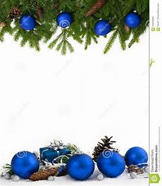 Blue Holiday Border Christmas Frame Blue Baubles Four Fifths Stock Image
