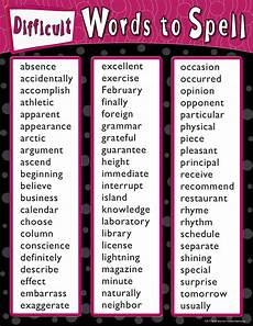 In Words Difficult Words To Spell Chart Tcr7728 Teacher Created