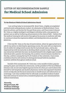 Sample Medical School Recommendation Letter Medical School Letter Of Recommendation Writing Service