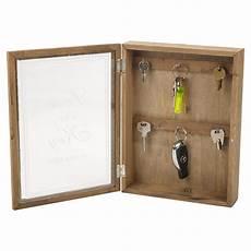 wooden key box glass door magnetic lock 6 hooks wall