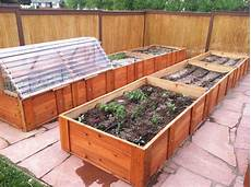 a raised bed garden with cold frame and drip irrigation